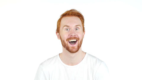 Man with wow face , red hair , success Live Action