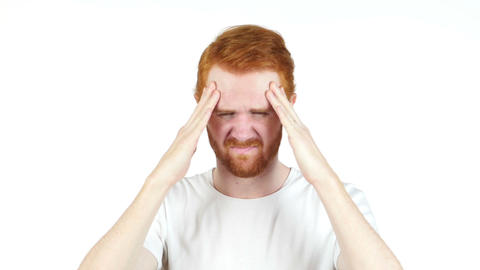 stressed red hair man upset frustrated white background Footage