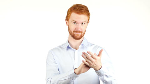 Businessman Clapping , Applauding , white background Footage