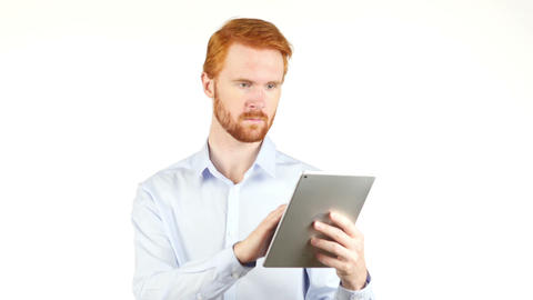 Browsing on Tablet, Man Using Tab Live Action