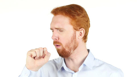 red hair man coughing on white background Footage