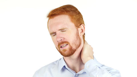 Attractive red hair model on white background having neck pain Live Action
