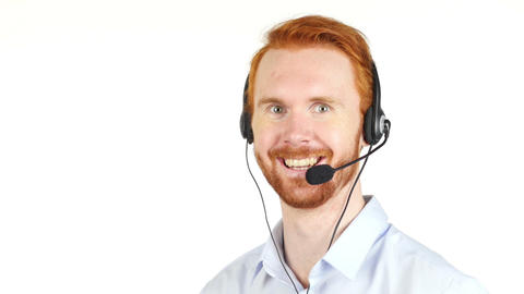 Closeup portrait of happy customer service representative wearing headset Footage