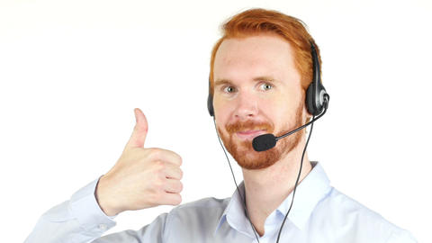 Handsome happy phone operator showing ok sign Footage