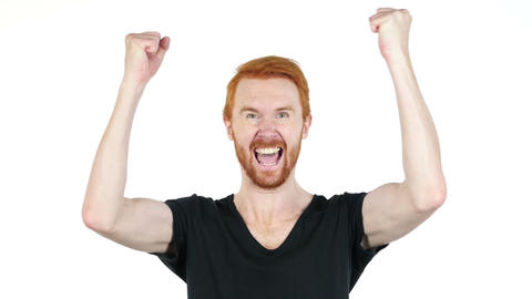 Joyful young man gesturing ,happiness ,success, good news ,white background Footage