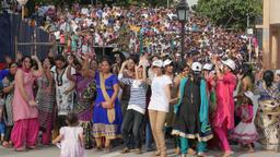 Ladies and girls dance at wagah border ceremony,Wagah,Punjab,India Footage