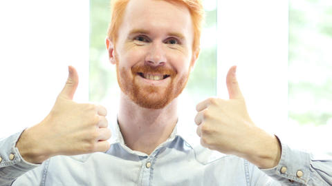 Thumbs up by Both Hands, Successful Positive Young Man Portrait Footage