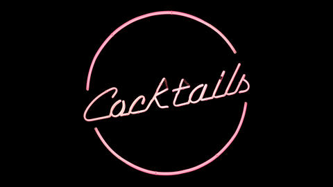 Isolated Neon Cocktails Sign Animation
