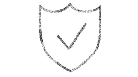 web security icon designed with drawing style on blackboard, animated footage GIF
