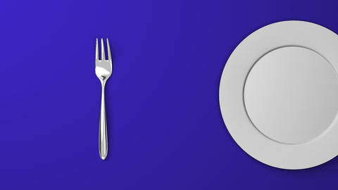 Top View Of Cutlery And Dish On Blue Background Videos animados