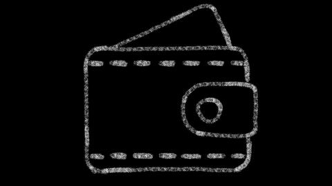wallet icon designed with drawing style on chalkboard, animated footage ideal Live Action