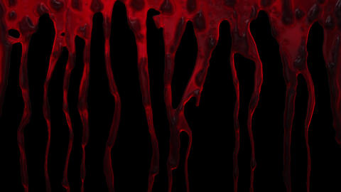 Blood Dripping down along the screen close up Animation