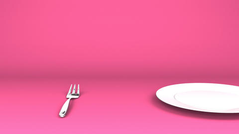 Cutlery And Dish On Pink Text Space Videos animados