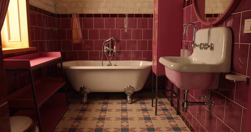 Elegant bathroom with modern design in pink color ライブ動画