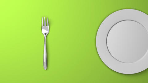 Top View Of Cutlery And Dish On Green Background Videos animados