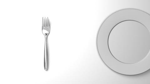 Top View Of Cutlery And Dish On White Background Animation