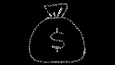 bag icon with money drawn with drawing style on chalkboard, animated footage Archivo