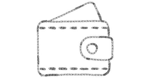 wallet icon designed with drawing style on chalkboard, animated footage ideal Archivo
