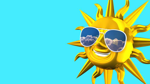 Golden Smiling Sun With Sunglasses On Blue Text Space Animation