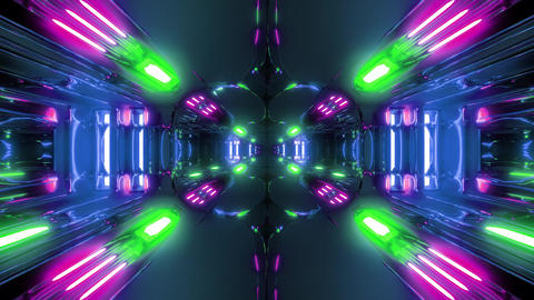 futuristic scifi space alien tunnel corridor with cool science-fiction Animation
