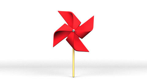 Red Pinwheel On White Background Videos animados