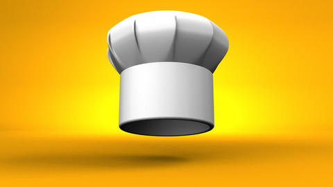 Chef's Hat With Three Stars On Yellow Background Videos animados