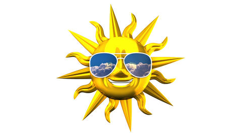 Golden Smiling Sun With Sunglasses On White Background Videos animados