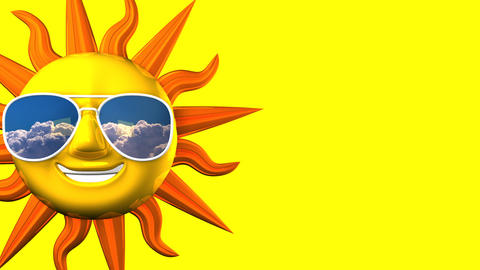 Smiling Sun With Sunglasses On Yellow Text Space Videos animados