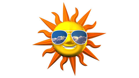Smiling Sun With Sunglasses On White Background Videos animados