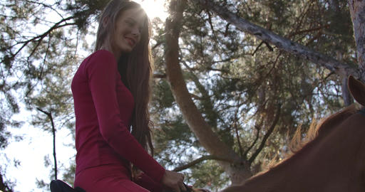 Caucasian female equestrian in pink clothes sitting in sunlight on brown Footage