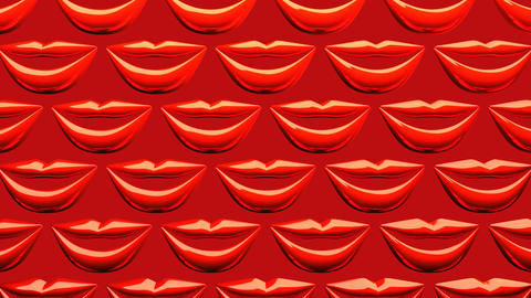 Many Red Kissing Lips On Red Background Videos animados