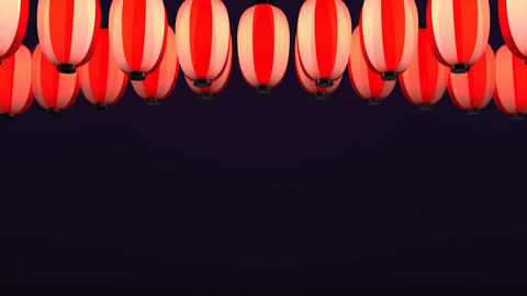 Red White Paper Lantern On Purple Background Videos animados