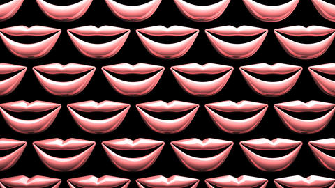 Many Pink Kissing Lips On Black Background Videos animados