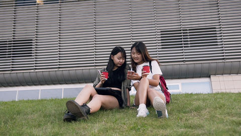Front view of charming joyful asian girlfriends which sitting on the green grass Footage