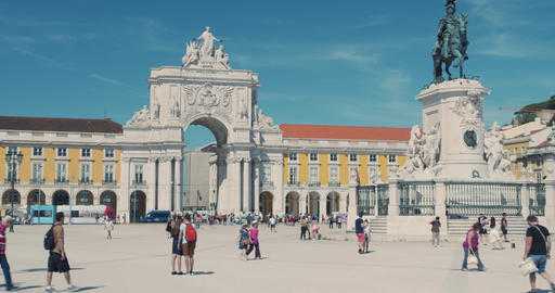 Lisbon, Portugal - October 15, 2019: Commercial square city centre, people are Live Action