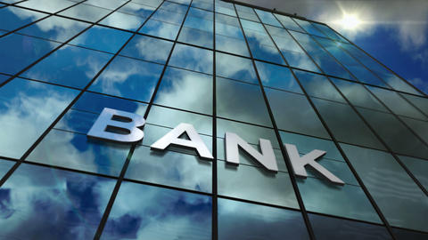 Bank glass skyscraper with mirrored sky Animation