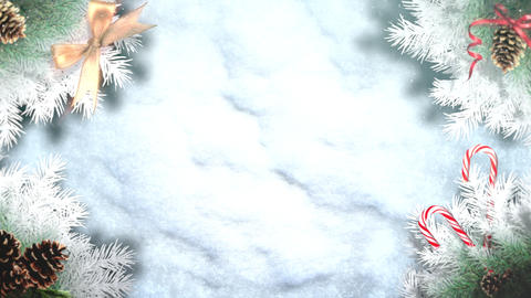 Animated closeup green tree branches and toys on snow background Animation