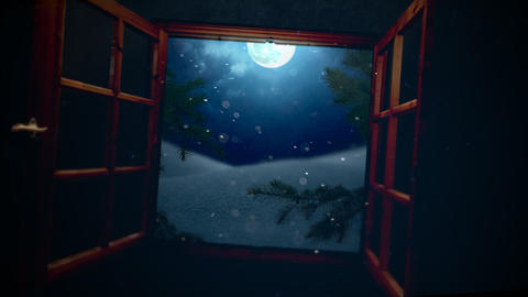 Animated closeup open window, away mountains and moon landscape Animation