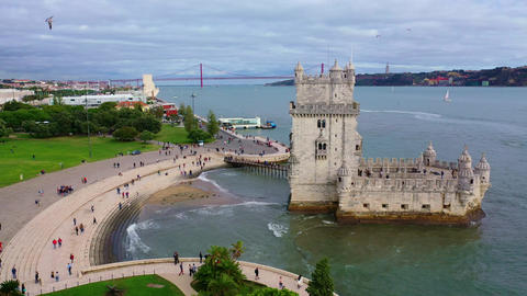 Belem Tower in Lisbon is a famous landmark in the city Live Action
