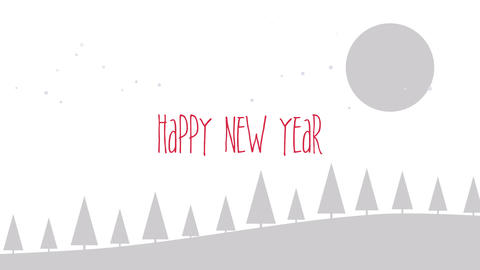 Animated closeup Happy New Year text, mountains, forest and snowing landscape Animation