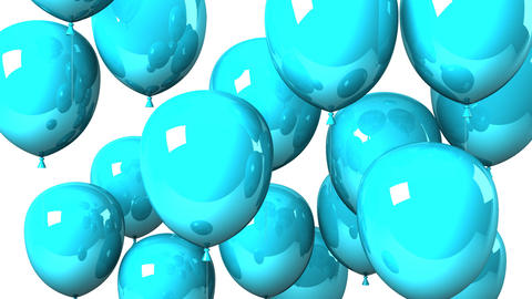 Blue Balloons On White Background Videos animados