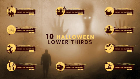 10 Halloween Lower Thirds Pack AE After Effectsテンプレート