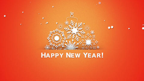 Animated closeup Happy New Year text, white snowflakes on orange background Animation