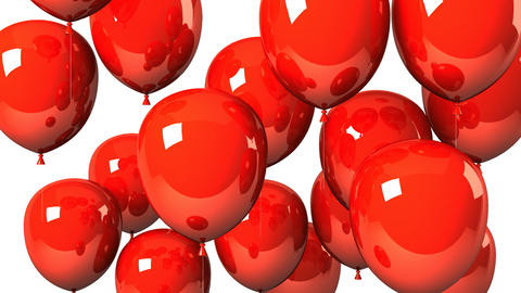 Red Balloons On White Background Animation