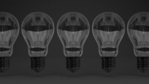 Some Electric Bulbs On Black Background Animation