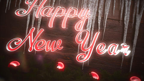 Animated closeup Happy New Year text, red balls and icicles on wood background Animation