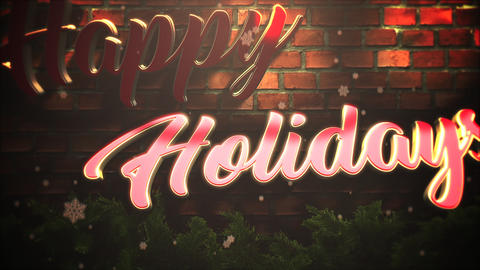 Animated closeup Happy Holidays text, white snowflakes and wood background Animation
