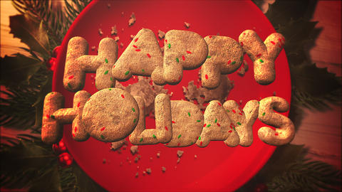 Animated close up Happy Holidays text, candy and Christmas pie on wood background Animation