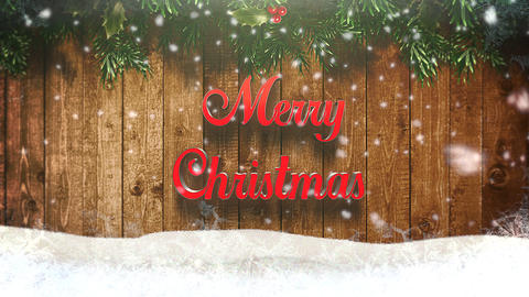 Animated closeup Merry Christmas text, white snowflakes and wood background Animation