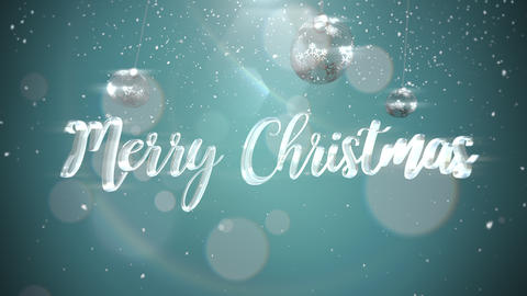 Animated closeup Merry Christmas text, silver balls on shine background Animation